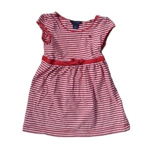 💗Tommy Hilfiger Red/White Striped Cotton Dress, 2